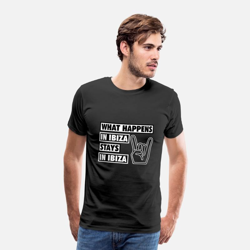 Alcohol T-Shirts - What happens in Ibiza stays in Ibiza, Party Club - Men's Premium T-Shirt black