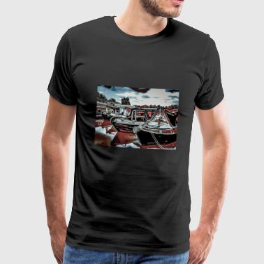 Canal Boat Marina, Northampton - T-shirt Premium Homme