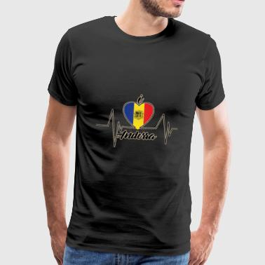 Boating I love ANDORRA (Heartbeat) - Men's Premium T-Shirt