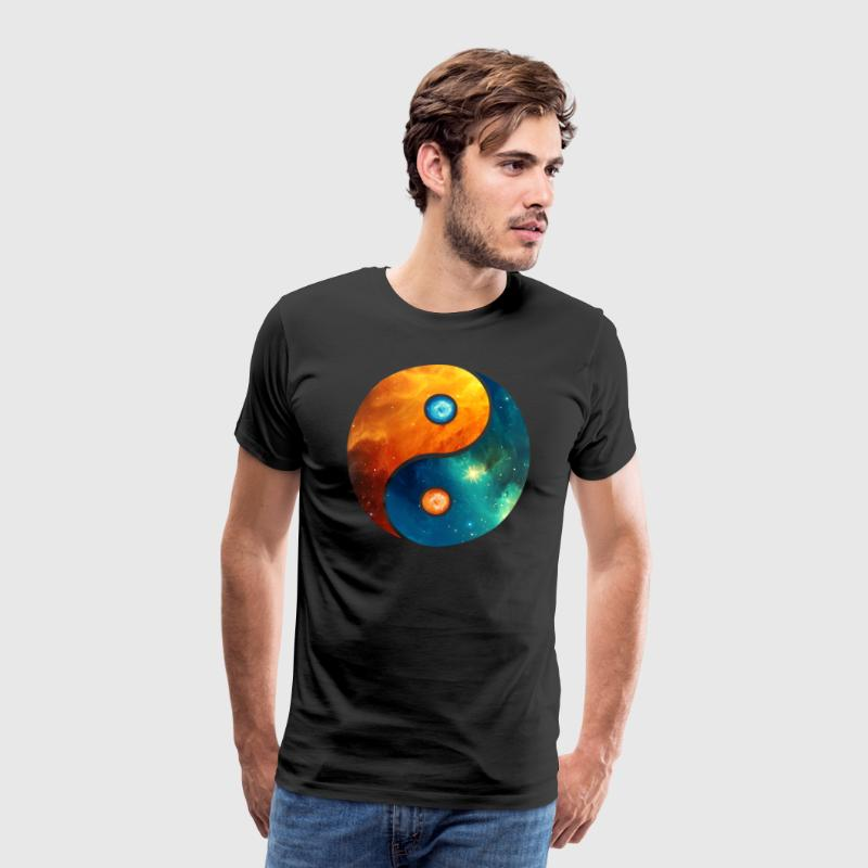 Yin Yang elements, space, cosmos, universe, star - Premium-T-shirt herr
