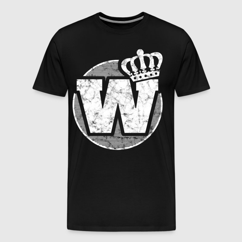 Stylish letter W with crown - Men's Premium T-Shirt