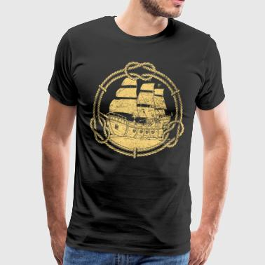 Ship Sailing Boat Boat Pirate Piracy Retro - Men's Premium T-Shirt
