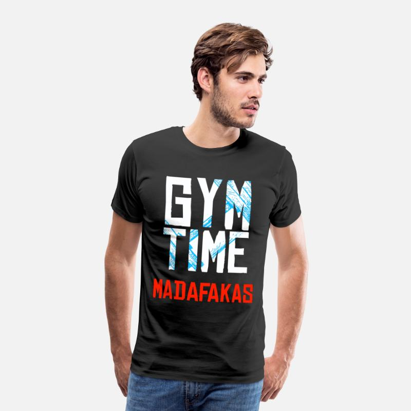 Biceps T-Shirts - GYM Time - MADAFAKAS - Mannen premium T-shirt zwart