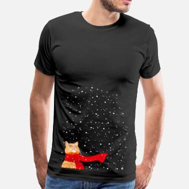 Cat Christmas Tabby with Scarf (Christmas Cat) - Men's Premium T-Shirt