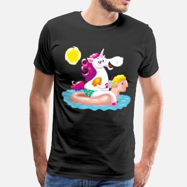 Unicorn water animal inflatable - Herre premium T-shirt