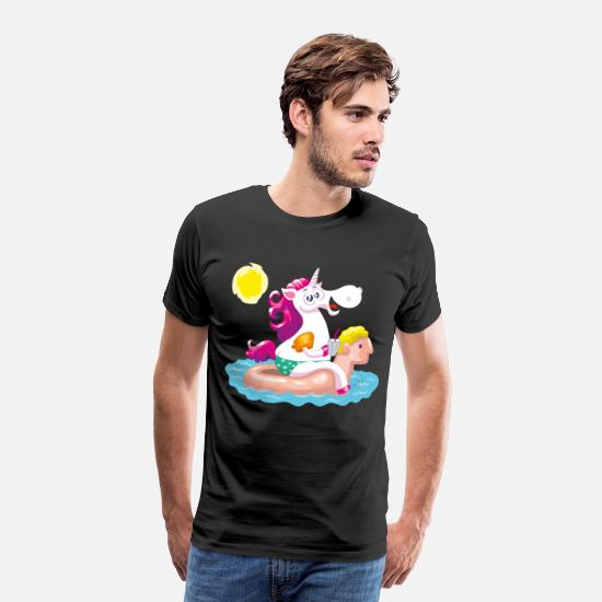 Collection T-shirts - Unicorn water animal gonflable - T-shirt premium Homme noir