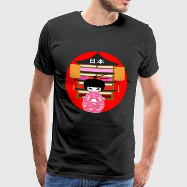 Kimono girl Japan japanese japanese pink red - Men's Premium T-Shirt