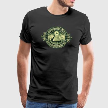 Illuminati Symbol Amulet All seeing eye, pyramid, dollar, freemason, god - Men's Premium T-Shirt