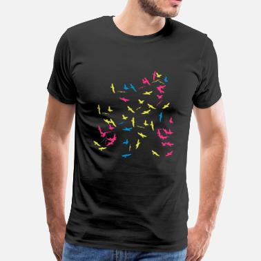 Flock Flock of birds in color - Men's Premium T-Shirt
