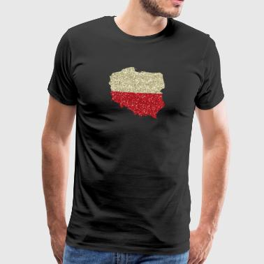 Kurwa Poland Map polish Glitzer Polska home country - Men's Premium T-Shirt