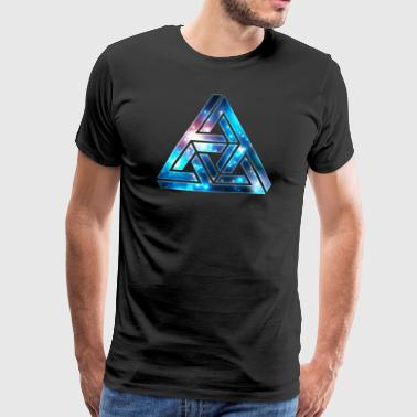 Impossible Triangle, Optical Illusion, Galaxy  - Herre premium T-shirt