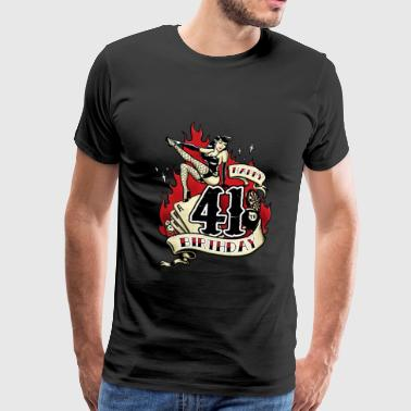 41th Birthday Pinup gift with sexy girl on fire - RAHMENLOS - Männer Premium T-Shirt