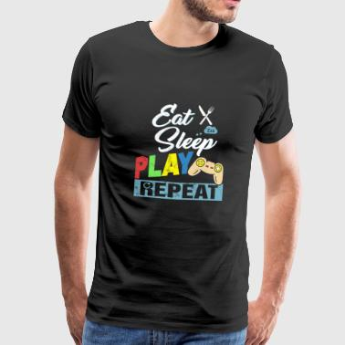 Eat Sleep Play Repeat Nerd Gamer Gaming Geek - Men's Premium T-Shirt