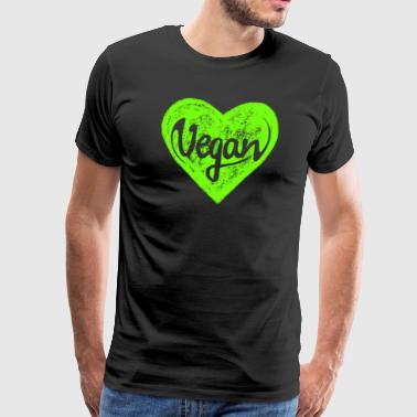 Vegan - a heart for animals, protection, nature,   - Mannen Premium T-shirt