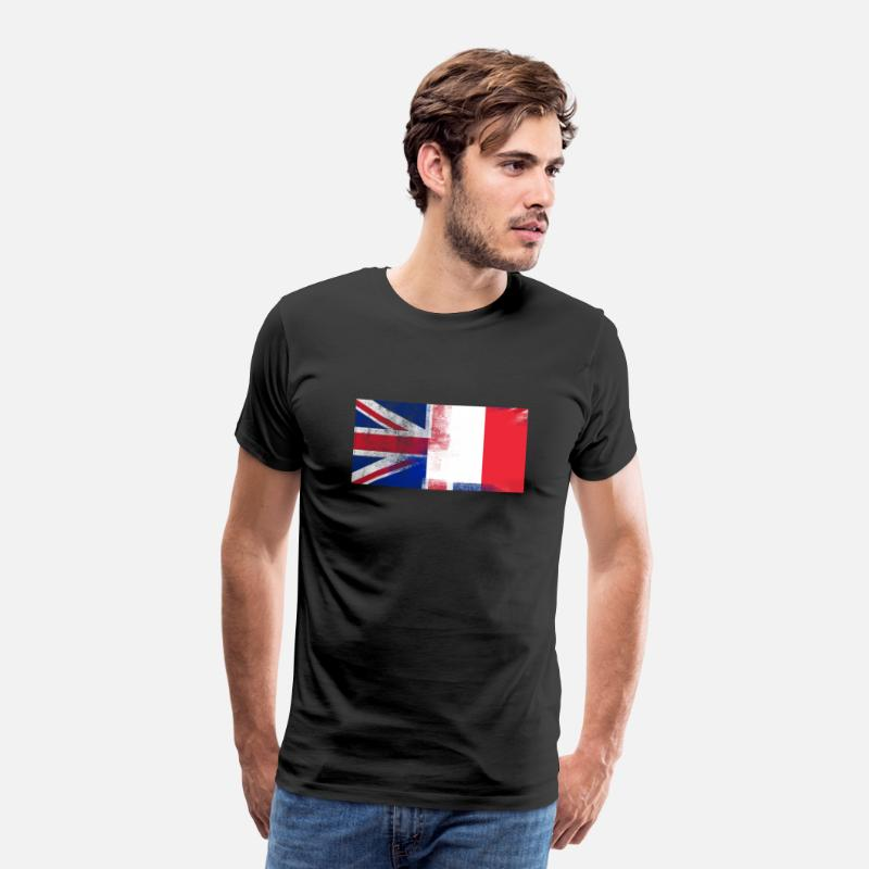 France Flag T-Shirts - British French Half France Half UK Flag - Men's Premium T-Shirt black