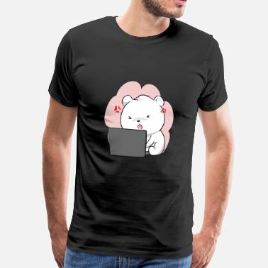 Computerarbejde Isbjørnebjørn Laptop Animal Kawaii Chibi Cute - Herre premium T-shirt