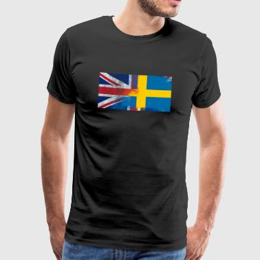 British Swedish Half Sweden Half UK Flag - Premium-T-shirt herr