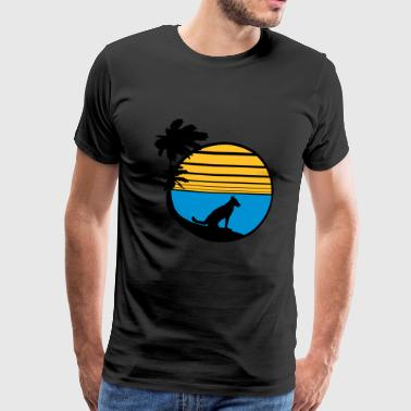 vacation beach palm vacation sea sun sitting - Men's Premium T-Shirt