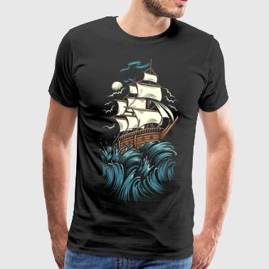 Sailing ship - sea - captain - Men's Premium T-Shirt