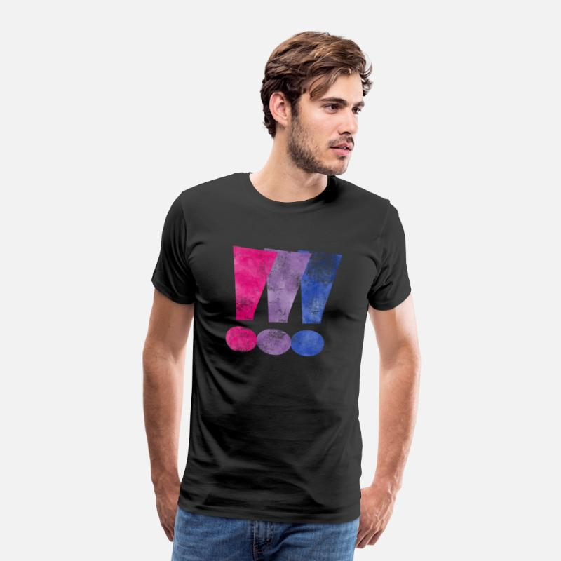 Bi T-Shirts - Bisexual Pride Exclamation Points - Mannen premium T-shirt zwart