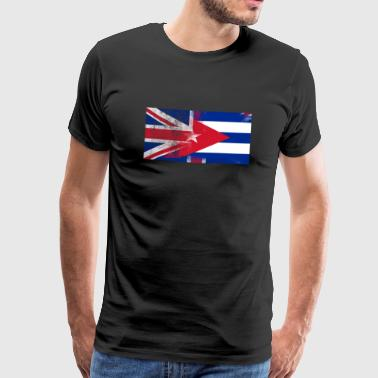British Cuban Half Cuba Half UK Flag - Premium-T-shirt herr