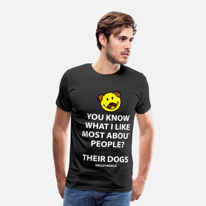 Funny T-Shirts - SmileyWorld I Like People's Dogs Quote - Men's Premium T-Shirt black