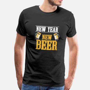 Champagne Happy new year new year celebration beer fireworks - Men's Premium T-Shirt