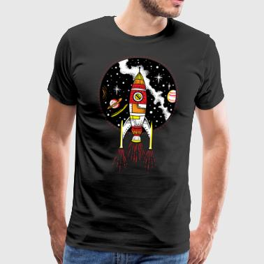 Awesome Unique Retro rocket ship launching outer space shuttle - Men's Premium T-Shirt