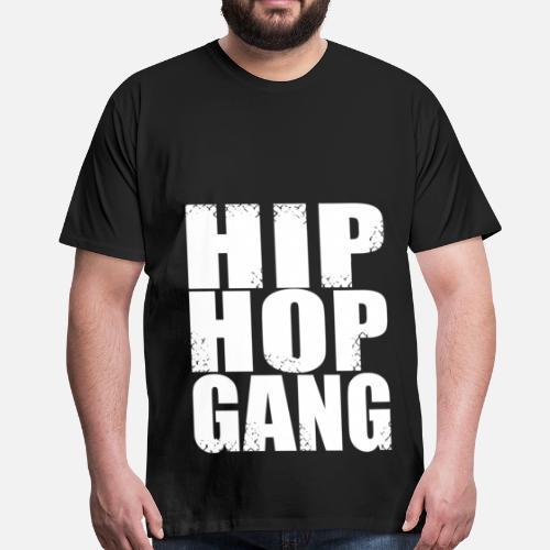hip hop gang - Maglietta premium uomo. Retro. Retro. Motivo. Fronte. Fronte a3c03c60f4af