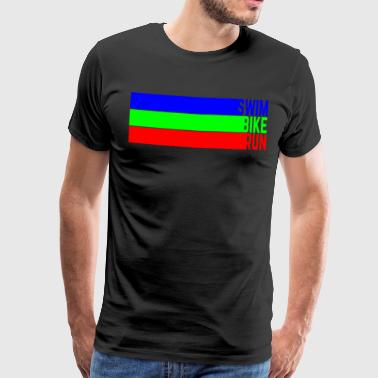 Swim Bike Run Color Stripes - Men's Premium T-Shirt