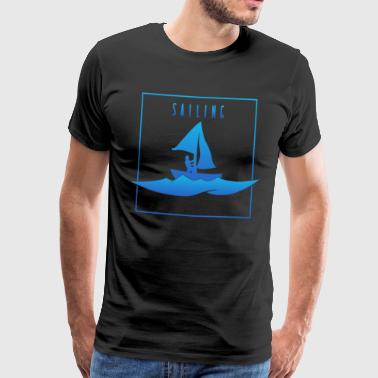 Sailing - Sailing, man on boat - Men's Premium T-Shirt