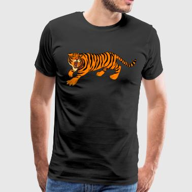 Tiger with claws and roar on - Men's Premium T-Shirt