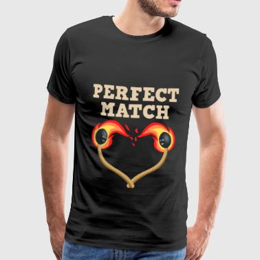 Perfect love matchstick burning heart couple - Men's Premium T-Shirt