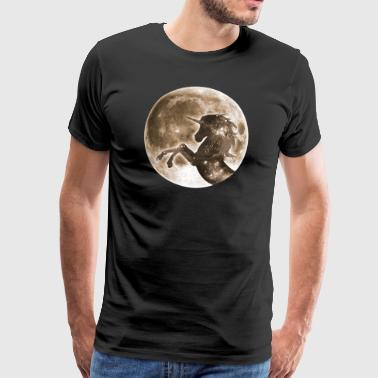 Unicorn full moon, galaxy, space, horse, fantasy - Men's Premium T-Shirt
