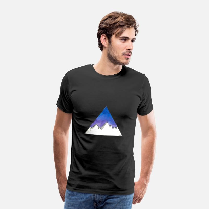 Lilac T-Shirts - Mountains in the triangle on a violet / blue background - Men's Premium T-Shirt black