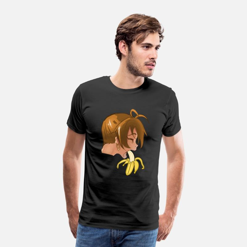 Banana T-Shirts - Sexy brunette woman eats sucking banana blowjob - Men's Premium T-Shirt black