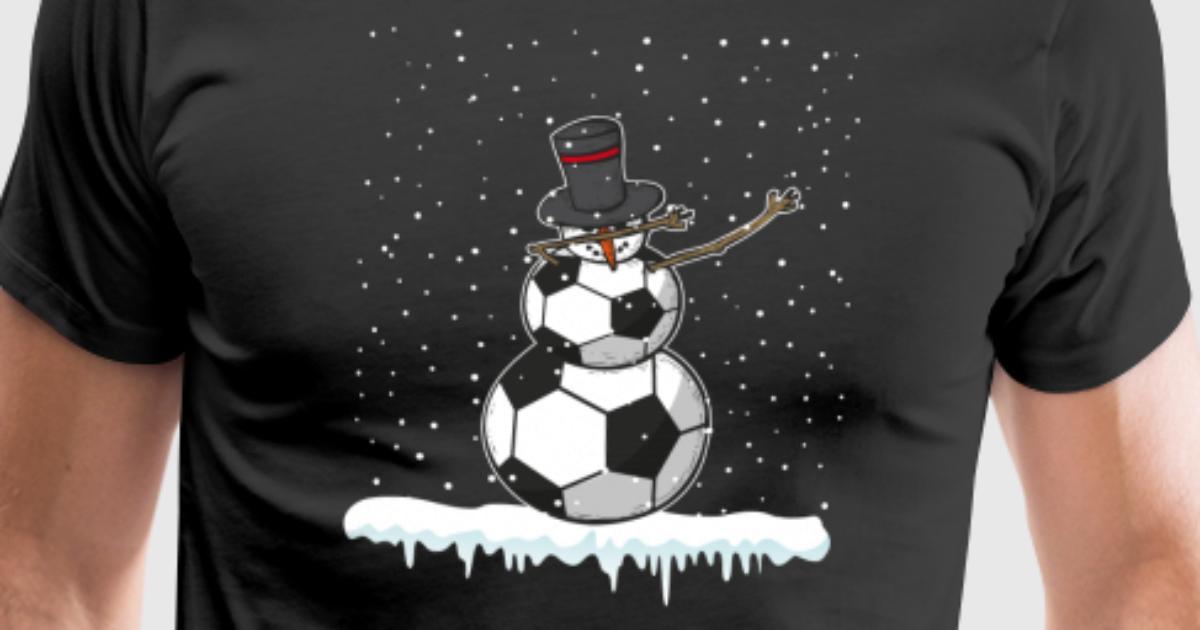 Fußball, der Schneemann Artsy Weihnachtswinter-Geschenk abtupft von ...