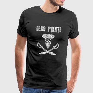 Dead Pirate with skull, bandage, hat and sabers - Men's Premium T-Shirt