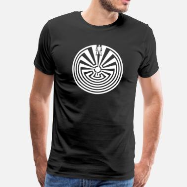Indianer Mand i labyrinth indian symbol labyrint tegn yoga - Herre premium T-shirt
