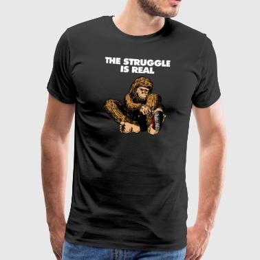 Bigfoot Trying To Put On Sneakers - Men's Premium T-Shirt