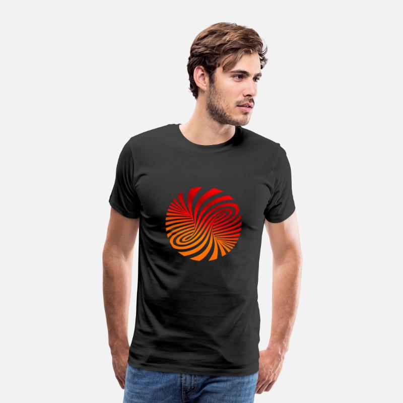 Optical Illusion T-Shirts - psychedelic optical type swirl orange 70s style fu - Men's Premium T-Shirt black