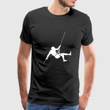 Abseiling Rappelling 2 mountaineer is climbing off - Men's Premium T-Shirt