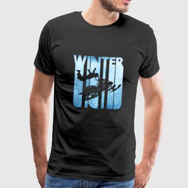 Retro Vintage Winter Holiday Sports.Snowmobile. - Men's Premium T-Shirt