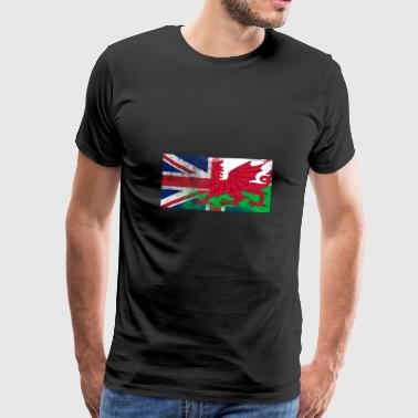 British Welsh Half Wales Half UK Flag - Men's Premium T-Shirt