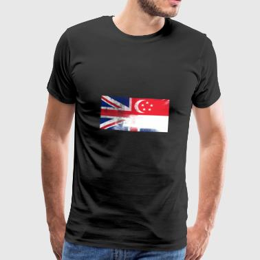 British Singaporean Half Singapore Half UK Flag - Men's Premium T-Shirt
