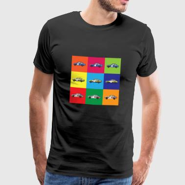 Muti Color Rally Car - Premium-T-shirt herr