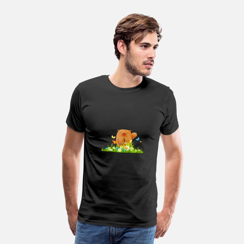Animal Camisetas - Sweet Bear idea de mariposas de dibujos animados regalo - Camiseta premium hombre negro