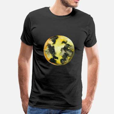 Pearl Hand-painted watercolor yellow full moon - Men's Premium T-Shirt