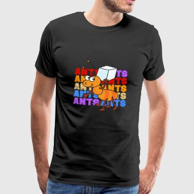 Retro Vintage Pop Art Style Ant Sugar Cube - Men's Premium T-Shirt
