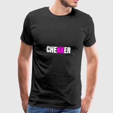 ANTON CHECKER rose / blanc - T-shirt Premium Homme
